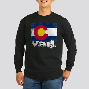 Vail Grunge Flag Long Sleeve Dark T-Shirt