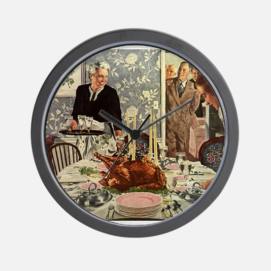 Vintage Thanksgiving Dinner Wall Clock