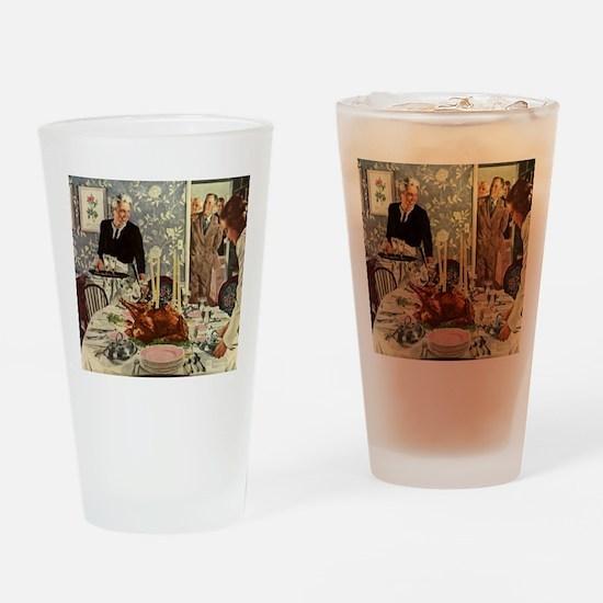 Vintage Thanksgiving Dinner Drinking Glass