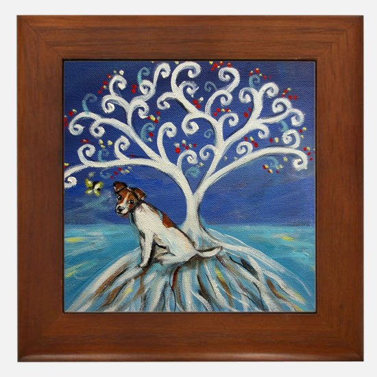 Jack Russell Terrier Tree Framed Tile