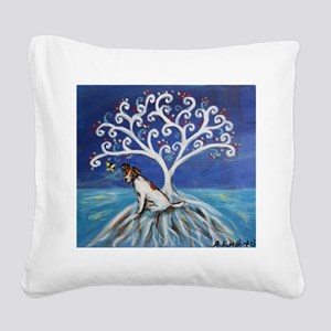 Jack Russell Terrier Tree Square Canvas Pillow