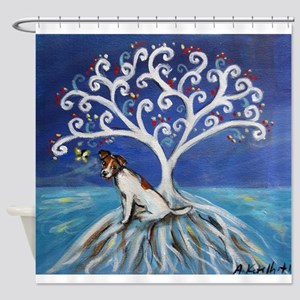 Jack Russell Terrier Tree Shower Curtain