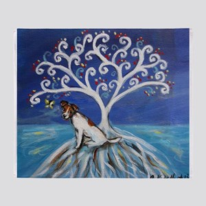 Jack Russell Terrier Tree Throw Blanket