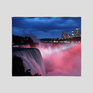 Niagara Falls at Night Throw Blanket