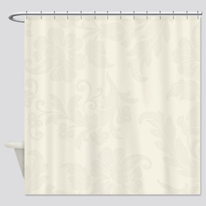 Cream Color Floral Pattern Shower Curtain