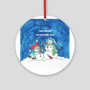 Personalized Snowmen with Marshmellows Ornamen