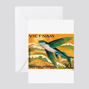 Vintage 1984 Vietnam Flying Fish Postage Stamp Gre