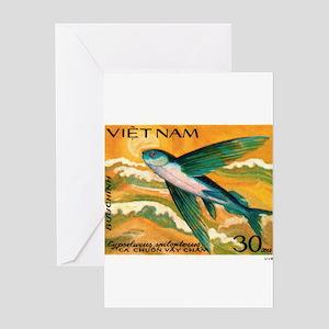 Vintage 1984 Vietnam Flying Fish Postage Stamp Gre
