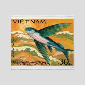Vintage 1984 Vietnam Flying Fish Postage Stamp Thr