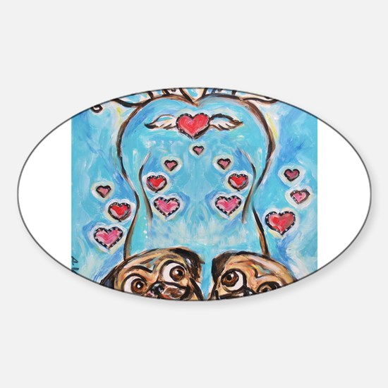 Pug angel love hearts Decal