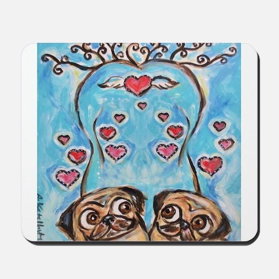 Pug angel love hearts Mousepad