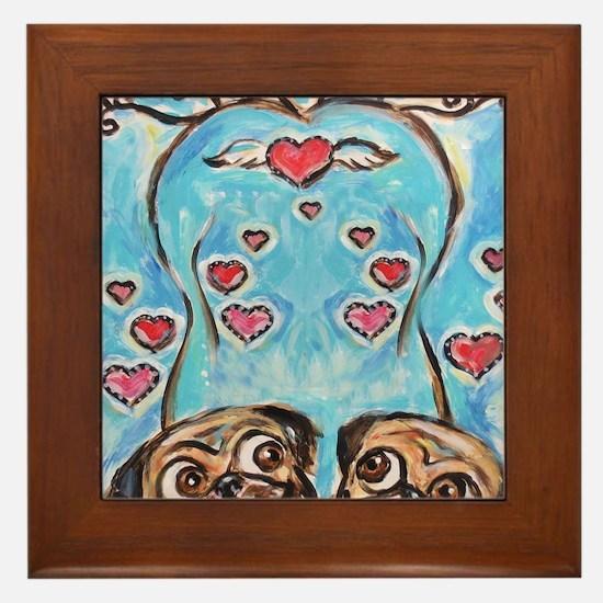 Pug angel love hearts Framed Tile