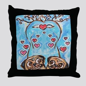 Pug angel love hearts Throw Pillow