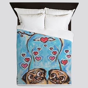 Pug angel love hearts Queen Duvet