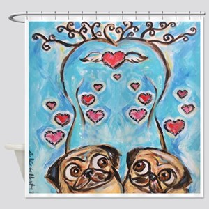 Pug angel love hearts Shower Curtain