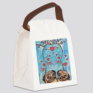 Pug angel love hearts Canvas Lunch Bag