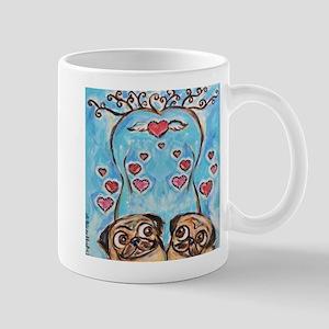 Pug angel love hearts Mugs