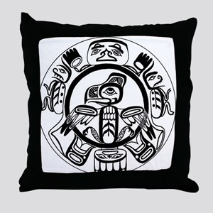 Northwest Indian Folkart Throw Pillow