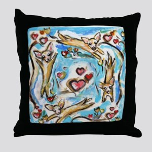 Chihuahuas dance love hearts Throw Pillow