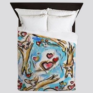 Chihuahuas dance love hearts Queen Duvet