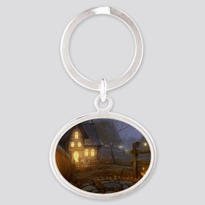 Haunted Halloween Village Oval Keychain