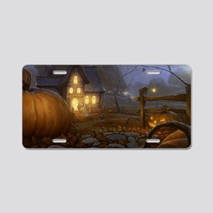 Haunted Halloween Village Aluminum License Plate