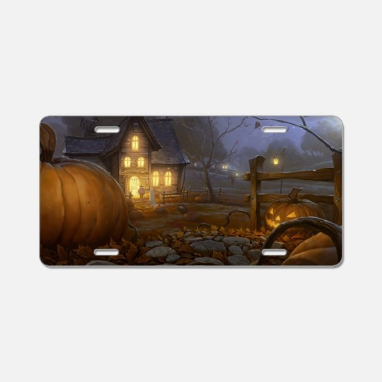 Haunted Halloween Village Aluminum License Plate