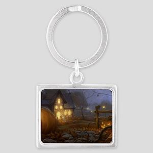 Haunted Halloween Village Landscape Keychain
