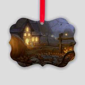 Haunted Halloween Village Picture Ornament