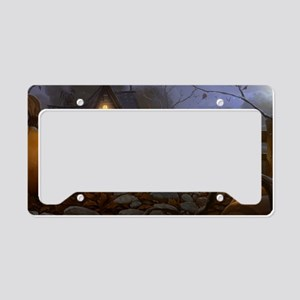 Haunted Halloween Village License Plate Holder