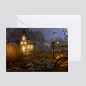 Haunted Halloween Village Greeting Card