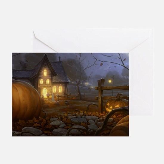 Haunted Halloween Village Greeting Card