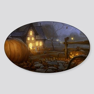 Haunted Halloween Village Sticker (Oval)