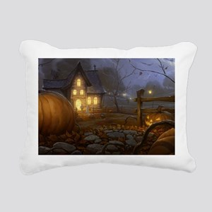 Haunted Halloween Villag Rectangular Canvas Pillow