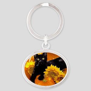 Halloween Cat Oval Keychain