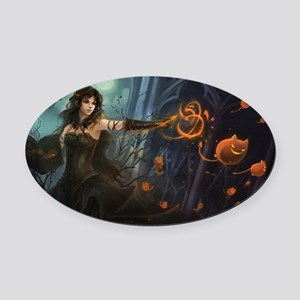 Haunting Halloween Beauty Oval Car Magnet