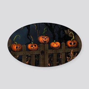 All the pretty pumpkins in a row Oval Car Magnet