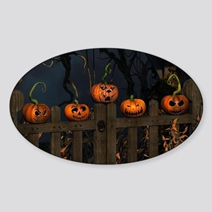 All the pretty pumpkins in a row Sticker (Oval)