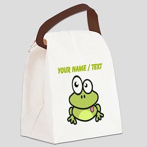 Custom Funny Cartoon Frog Canvas Lunch Bag