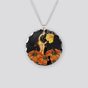 Halloween Pin up Necklace Circle Charm