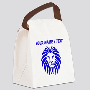 Custom Blue Lion Mane Canvas Lunch Bag