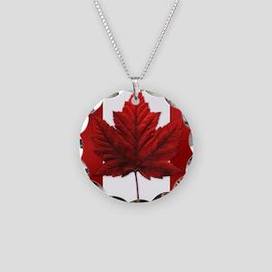 Canadian Flag Souvenir Necklace Circle Charm