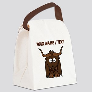 Custom Cartoon Yak Canvas Lunch Bag