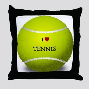 I Love Tennis on a Yellow Tennis Ball Throw Pillow