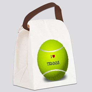 I Love Tennis on a Yellow Tennis  Canvas Lunch Bag