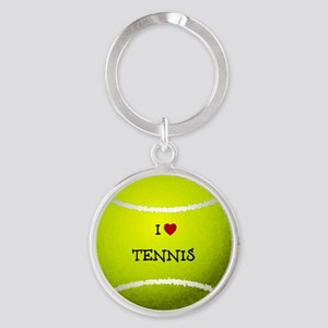 I Love Tennis on a Yellow Tennis Ba Round Keychain