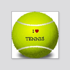 "I Love Tennis on a Yellow T Square Sticker 3"" x 3"""