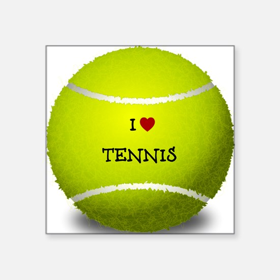 """I Love Tennis on a Yellow T Square Sticker 3"""" x 3"""""""