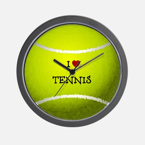 I Love Tennis on a Yellow Tennis Ball Wall Clock