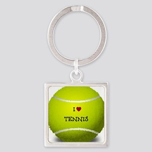 I Love Tennis on a Yellow Tennis B Square Keychain